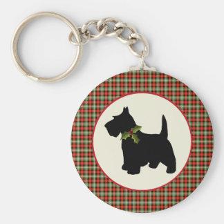 Porte-clés Noël écossais de plaid de chien de Scottie
