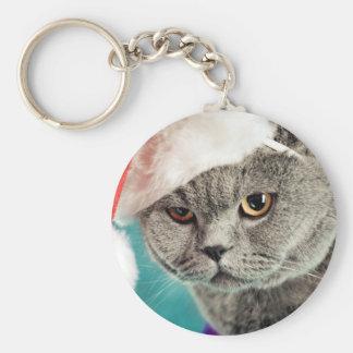 Porte-clés Noël gris de chat - chat de Noël - chat de chaton