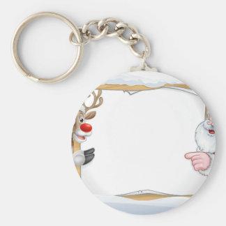 Porte-clés Noël Père Noël et arrière - plan de signe de renne