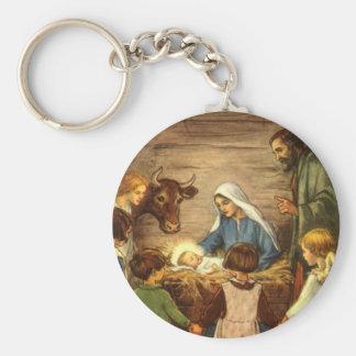 Porte-clés Noël vintage, bébé religieux Jésus de la nativité