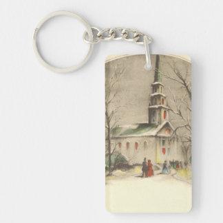 Porte-clés Noël vintage, église en hiver Snowscape