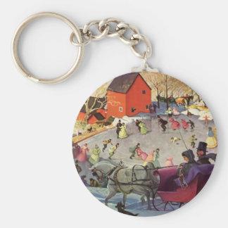 Porte-clés Noël vintage, histoires d'amour Sleigh