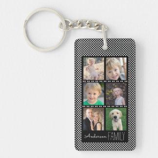 Porte-clés Noir de 6 cadres de photo avec les points blancs