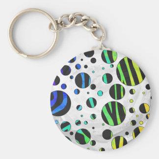 Porte-clés Noir de point de polka de zèbre et copie