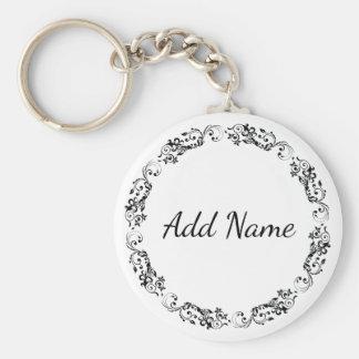 Porte-clés Noir et blanc simple personnalisé de porte - clé