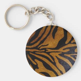 Porte-clés Noir et conception de motif de tigre de Brown