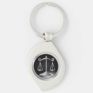 Porte-clés Noir et échelles d'argent de loi de la justice |