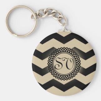 Porte-clés Noir et monogramme de Chevron d'or