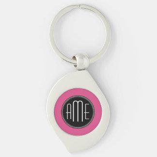 Porte-clés Noir et roses indien solides avec le monogramme