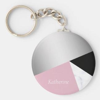 Porte-clés Noir rose de marbre blanc argenté géométrique