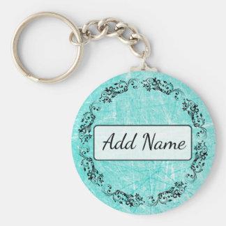 Porte-clés Noir simple personnalisé et Teal de porte - clé