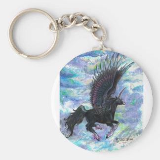 Porte-clés Noircissez le cheval de vol à ailes de licorne,