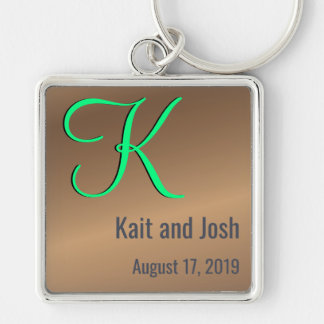 Porte-clés Noix de pécan en bronze à la mode de monogramme