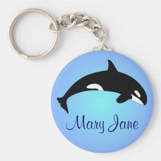 Porte-clés Nom de bleu de gradient d'épaulard d'orque