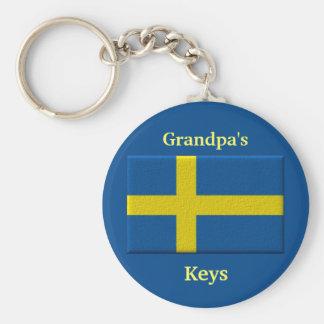 Porte-clés Nom de drapeau suédois ou membre de la famille