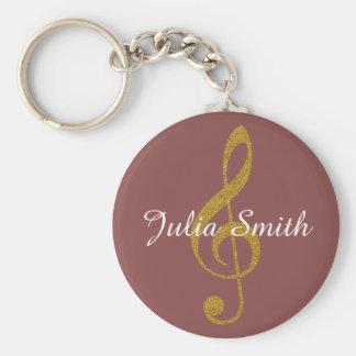 Porte-clés note musicale de g-clef personnalisée avec le nom