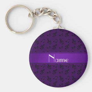 Porte-clés Notes pourpres nommées personnalisées de musique
