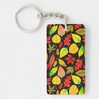 Porte-clés Obscurité d'aquarelle de feuille d'automne
