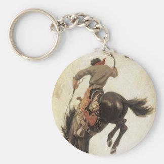 Porte-clés Occidental vintage, cowboy sur un cheval