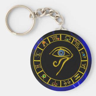 Porte-clés OEIL ASTRAL de HORUS, diagramme BLEU d'astrologie