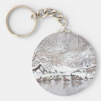 Porte-clés Oies dans la neige