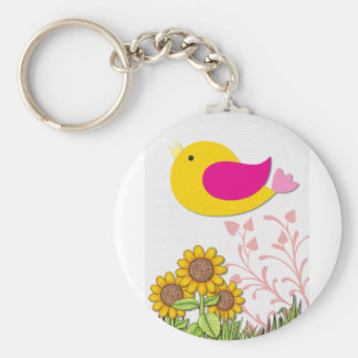 Porte-clés oiseau floral, art, conception, beau, nouvelle,