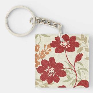 Porte-clés Ombres florales en rouge et orange