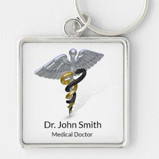Porte-clés Or argenté médical de noir de caducée - porte -