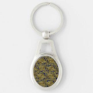 Porte-clés Or et motif de noeuds en spirale celtique bleu