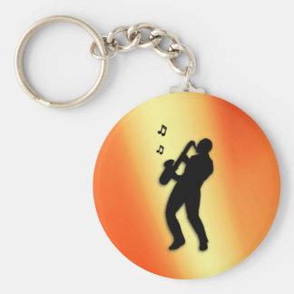 Porte-clés Orange de joueur de saxophone