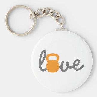 Porte-clés Orange de Kettlebell d'amour