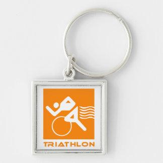 Porte-clés Orange et blanc de triathlon
