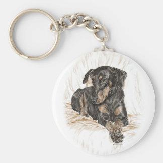 Porte-clés Oreilles naturelles de chien de dobermann pour des