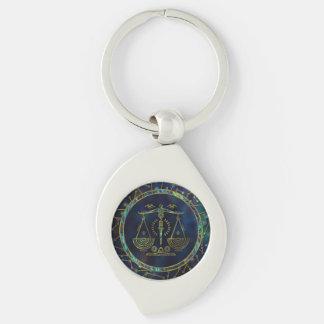 Porte-clés Ormeau d'or de zodiaque de Balance sur la