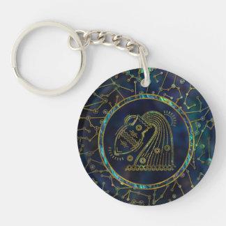 Porte-clés Ormeau d'or de zodiaque de Verseau sur la