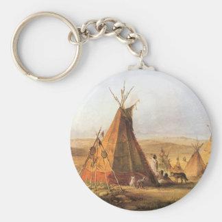 Porte-clés Ouest américain vintage, Teepees sur la plaine par