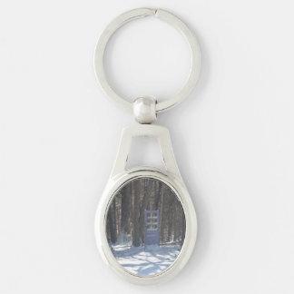 Porte-clés ovale en métal avec la porte dans le