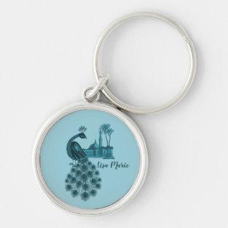 Porte-clés Paon bleu romantique