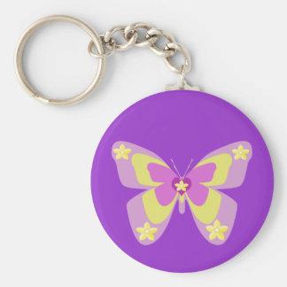 Porte-clés Papillon rose et jaune avec des fleurs