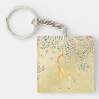 Porte-clés Papillons et fleur de girafe d'aquarelle