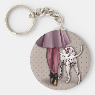 Porte-clés Parisienne et son dalmatien en promenade