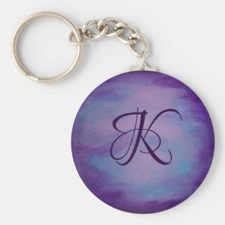 Porte-clés Pastel bleu pourpre du rose | de monogramme