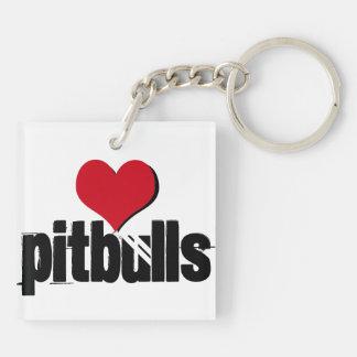 Porte-clés Patiemment attendant (pitbulls de coeur)