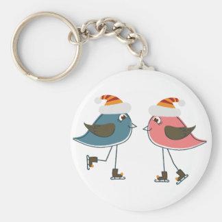 Porte-clés Patinage de glace de deux oiseaux de neige