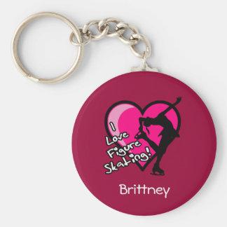 Porte-clés Patineur simple, rose - ajoutez votre porte - clé