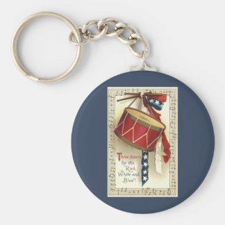 Porte-clés Patriotique vintage, tambours avec les notes