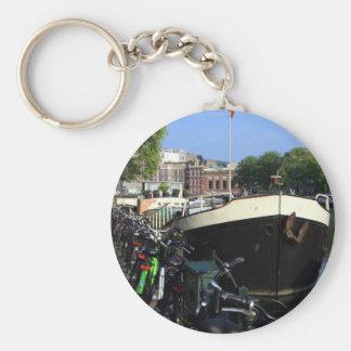 Porte-clés Péniche et bicyclettes, Amsterdam
