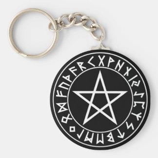 Porte-clés pentagramme de Rune de porte - clé sur le noir