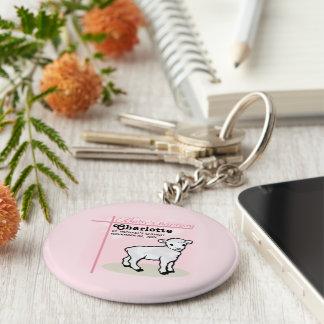 Porte-clés Personnalisable, baptême, rose, fille, agneau