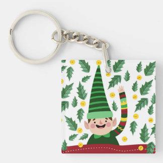 Porte-clés Petit Noël heureux Elf dans le chandail vert